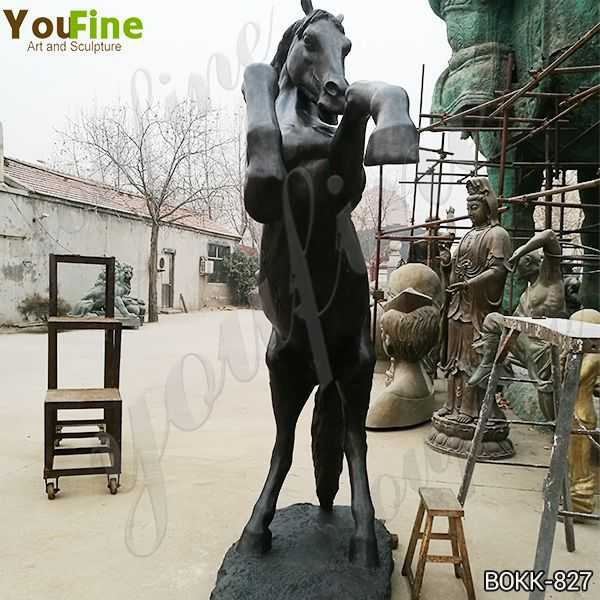 Ancient Black Bronze Jumping Horse Sculpture