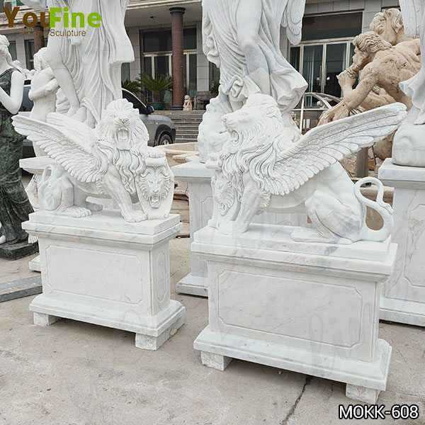 Antique Style White Marble Winged Lion Statues for Sale
