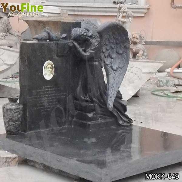 Black Granite Weeping Angel Headstone for Sale