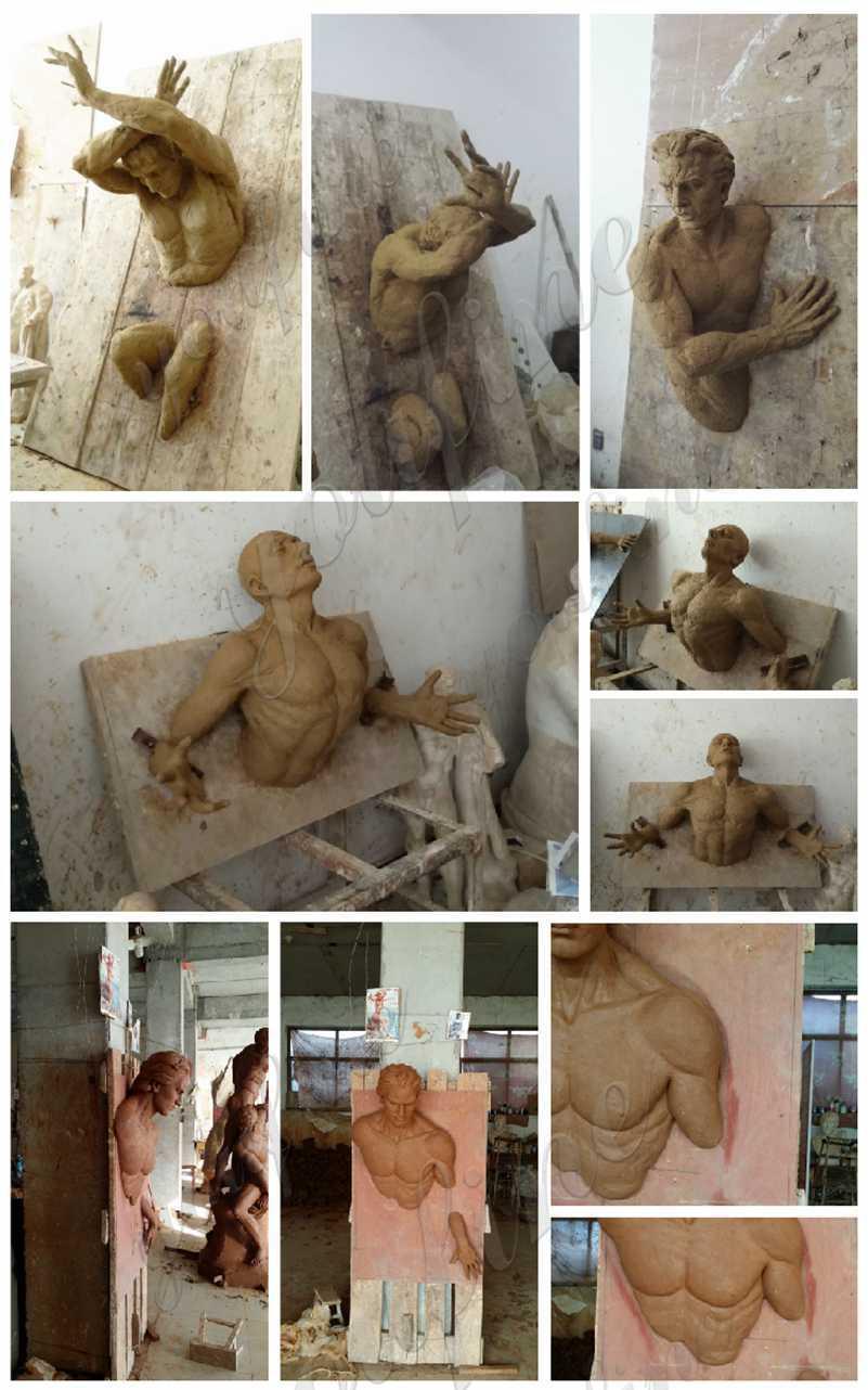 Bronze Matteo Pugliese Abstract Nude Man Sculpture