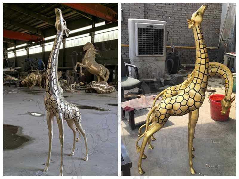 Bronze Metal Giraffe Garden Statues detail