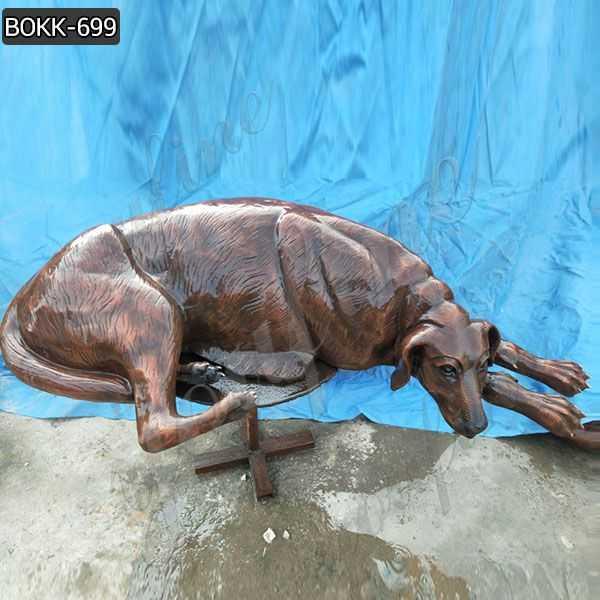 Cast Solid Bronze Dog Sculpture for Sale