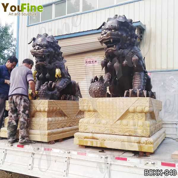 Casting Bronze Chinese Lion Statues Factory Supply