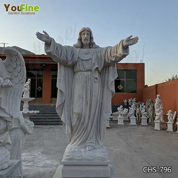 Catholic Large Outdoor Marble Jesus Statue with Hands Open Suppliers CHS-796