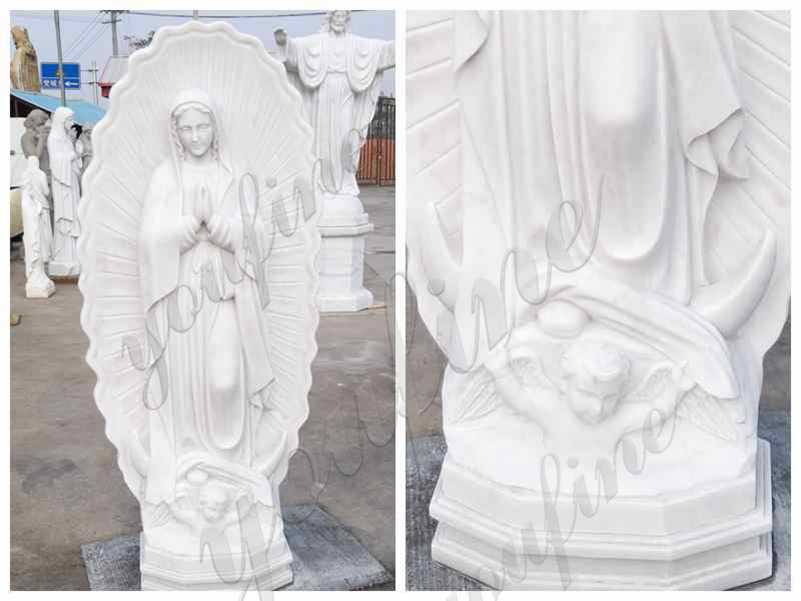 Catholic Our Lady of Guadalupe Outdoor Marble Statue detail