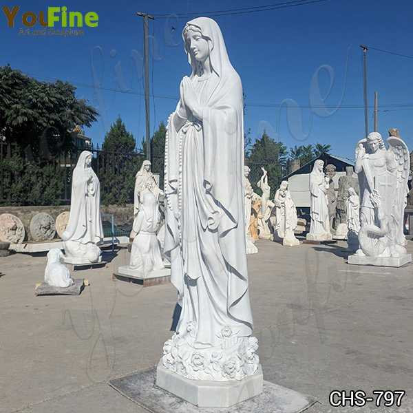 Catholic White Marble Our Lady of Lourdes Statue for Sale