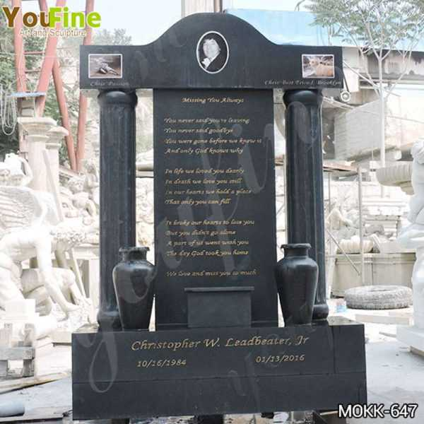 Custom Black Granite Upright Headstones Manufacturers MOKK-647