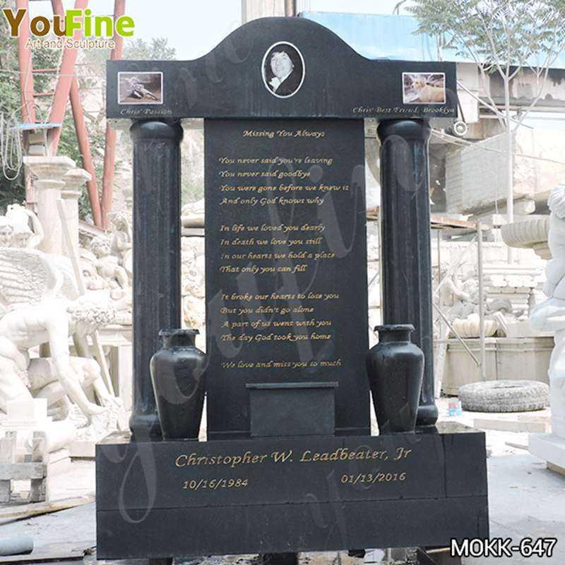 Custom Black Granite Upright Headstones Manufacturers MOKK-647