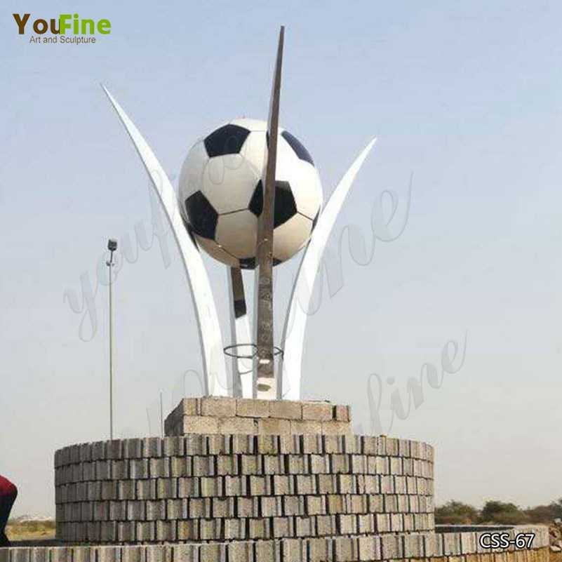 Custom Large Stainless Steel Football Sculpture for Saudi Arabia Client CSS-67