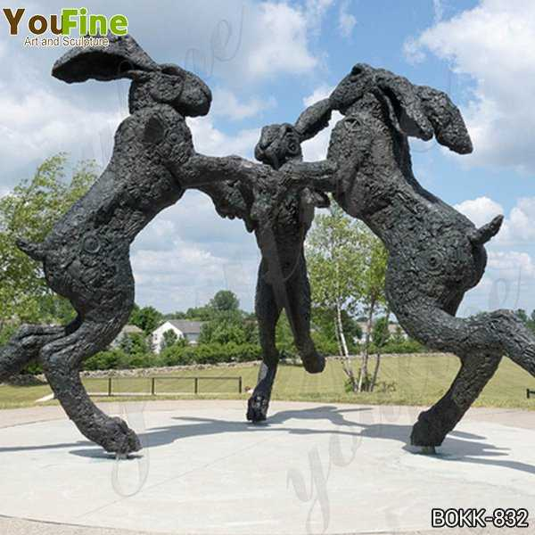 Dancing Hares Bronze Sculpture of 3 Giant Rabbits for Sale