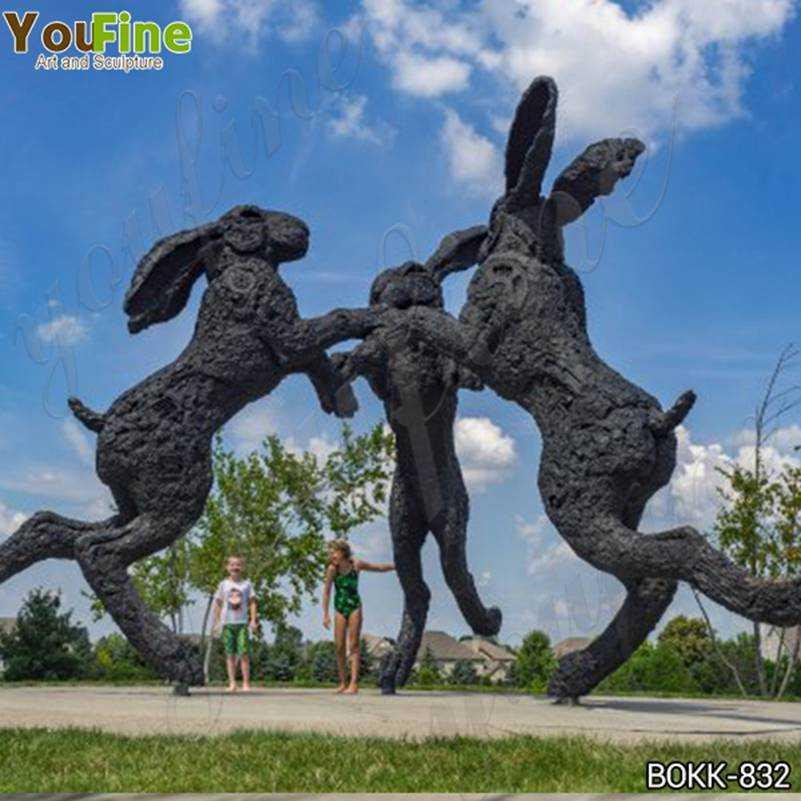 Dancing Hares Bronze Sculpture