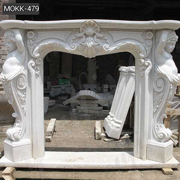 Elegant French Style White Marble Fireplace Surround Suppliers MOKK-479