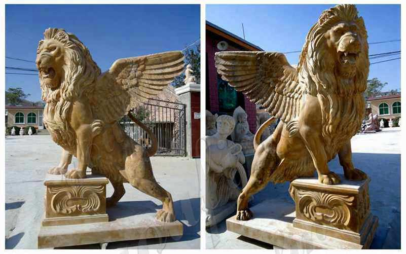 Estate Huge Marble Winged Western Lion Statues Manufacturers