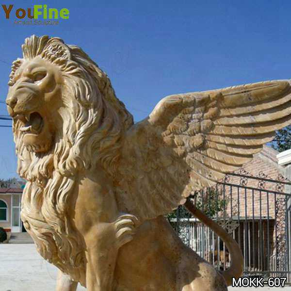 Estate Huge Marble Winged Western Lion Statues