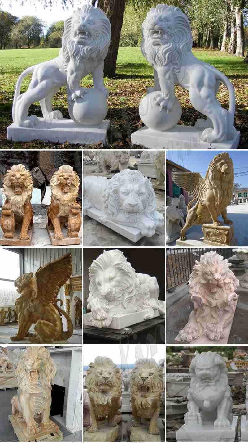 Garden-marble-lion-statues