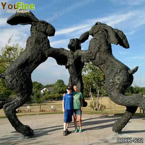 Giant Dancing Hares Bronze Sculpture of 3 Giant Rabbits