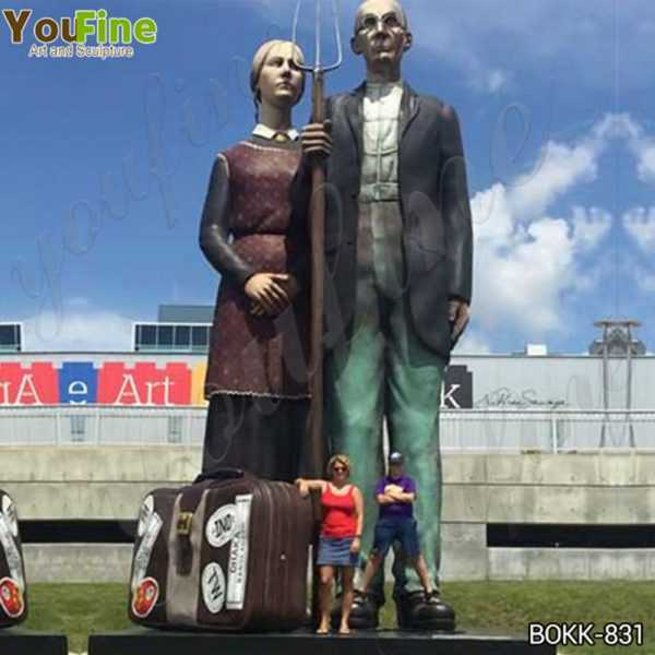 Giant Outdoor Brozne Old Couples Statue Grounds for Sculpture