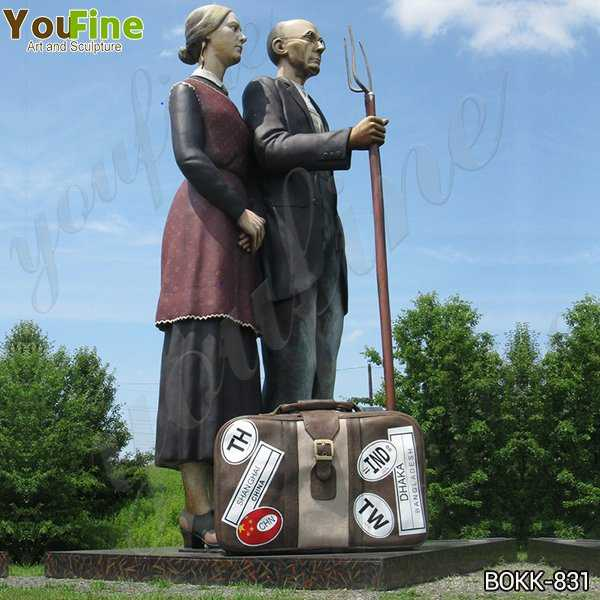 Giant Outdoor Brozne Old Couples Statue Grounds for Sculpture for Sale