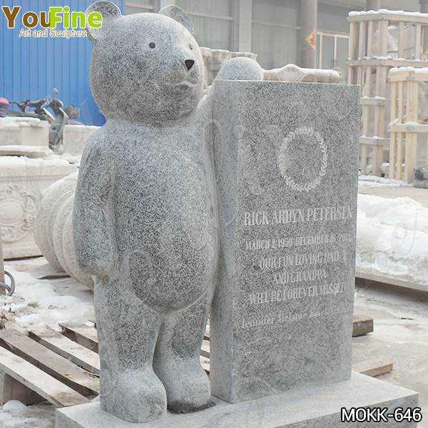 Granite Upright Baby Headstone with Bear Statue for Sale