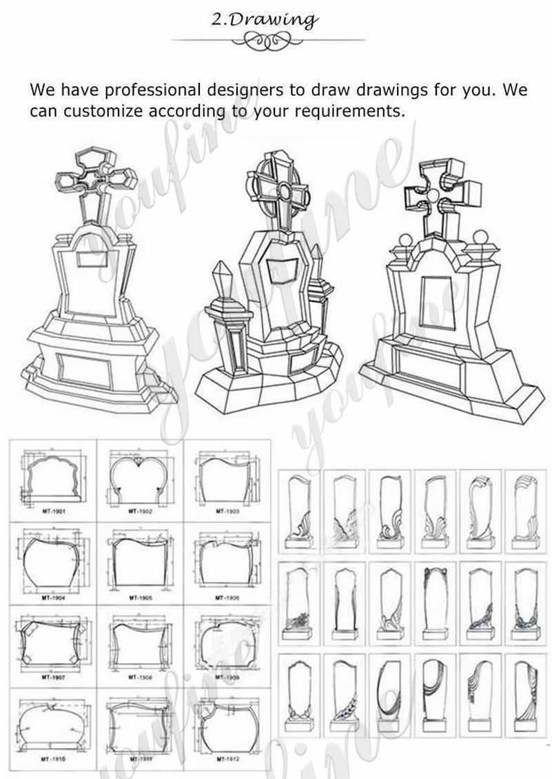 Granite upright headstones