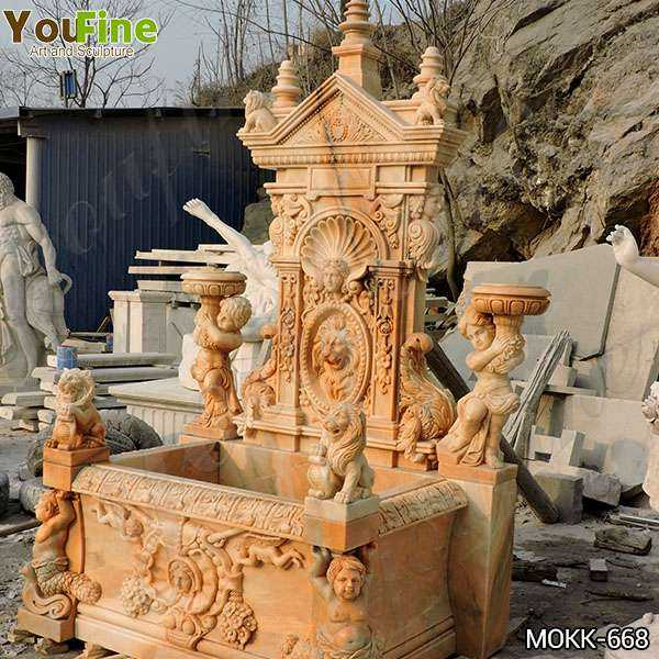 Greek Red Marble Statue Wall Fountain for Sale