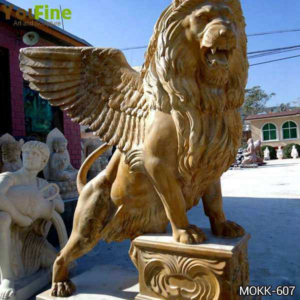 Huge Marble Winged Western Lion Statues Manufacturers