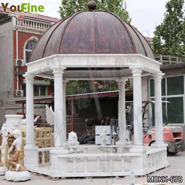 Italian White Marble Gazebo with Wrought Iron Dome