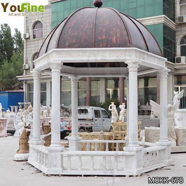 Italian White Marble Gazebo with Wrought Iron Dome Designs