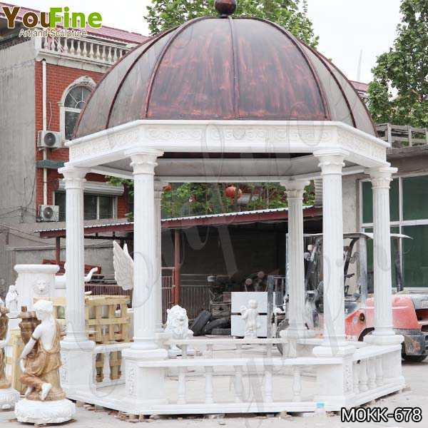 Italian White Marble Gazebo with Wrought Iron Dome Designs Suppliers