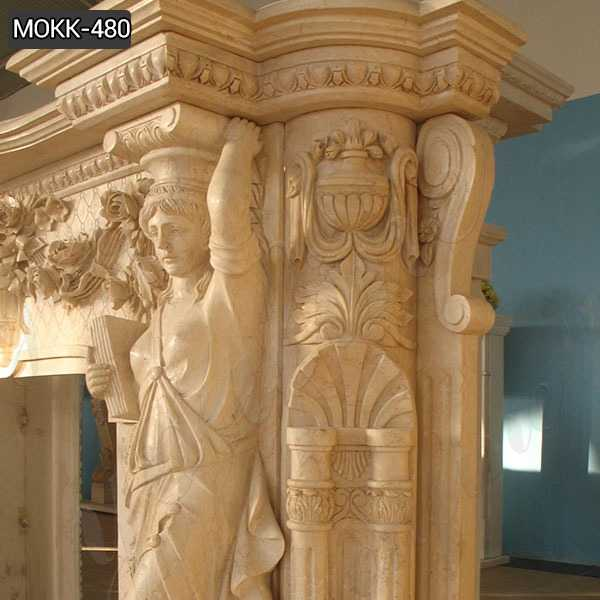 Large Beige Marble Statuary Fireplace Mantel for Sale