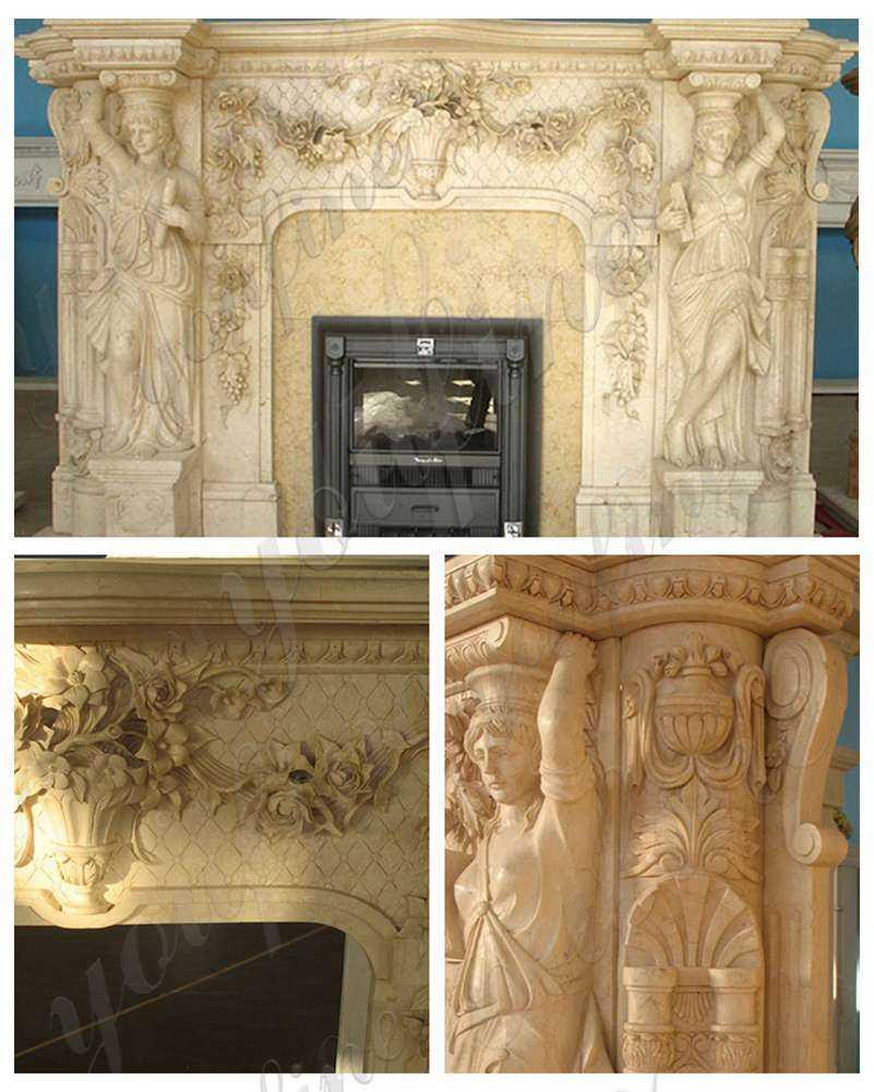 Large Beige Marble Statuary Fireplace Mantel