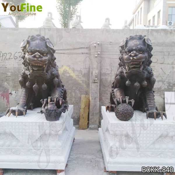 Large Bronze Chinese Lion Statues Factory Supply