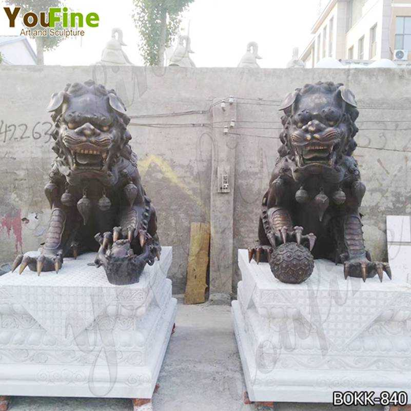 Casting Large Bronze Chinese Lion Statues Factory Supply BOKK-840