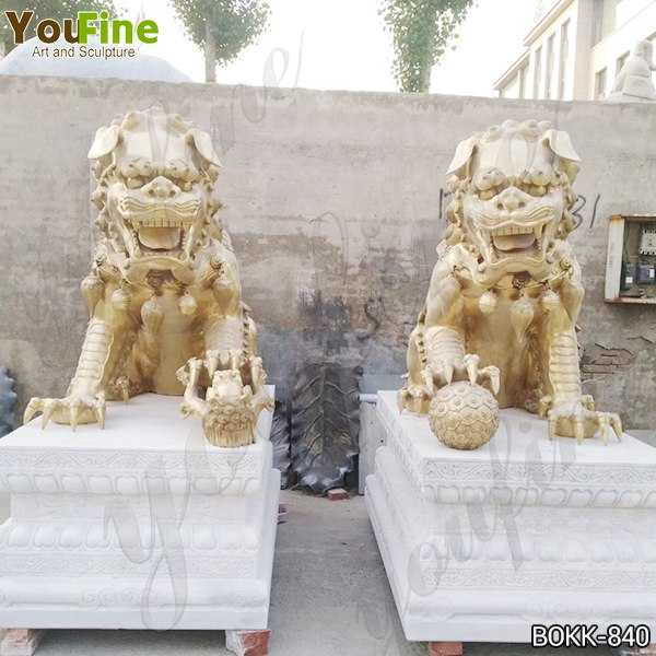 Large Bronze Chinese Lion Statues