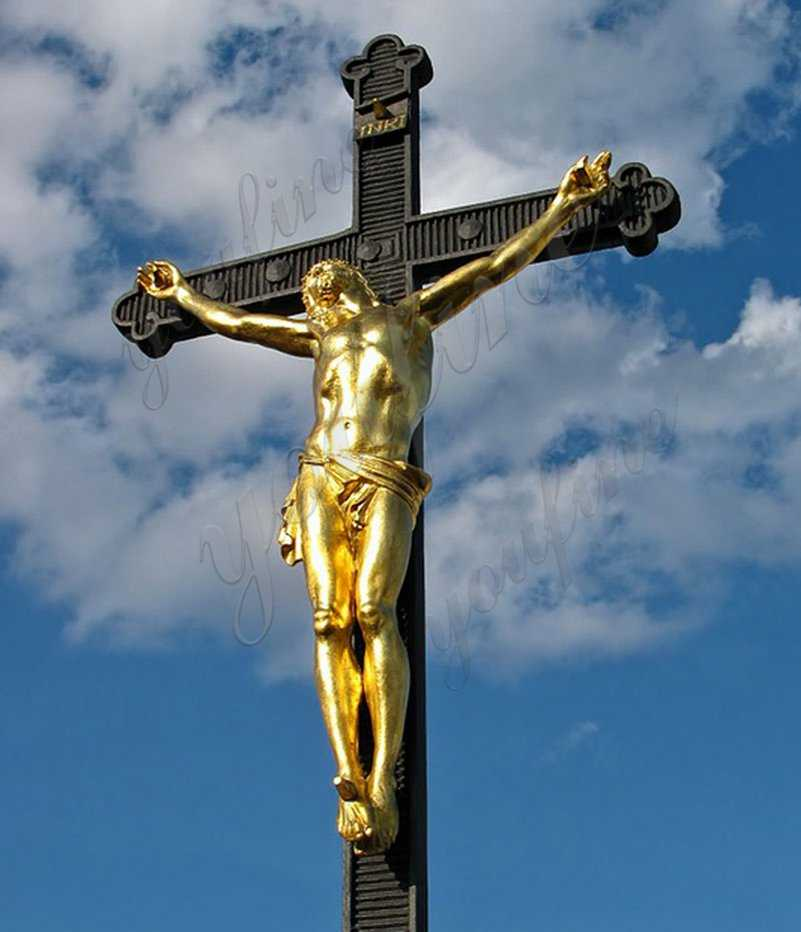 Large Crucifixion Cross of Jesus Christ Bronze Statue