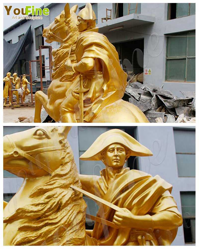 Large Golden Bronze Knight on Horse Statue details