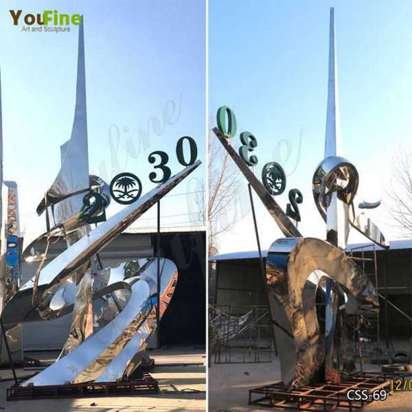 Large Outdoor Polished Stainless Steel Sculpture for City Decor Projhects