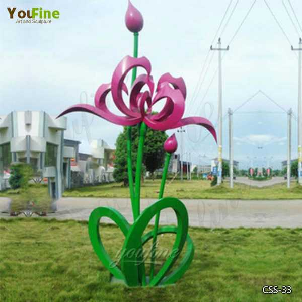 Large Outdoor Stainless Steel Floral Sculpture for Garden Suppliers