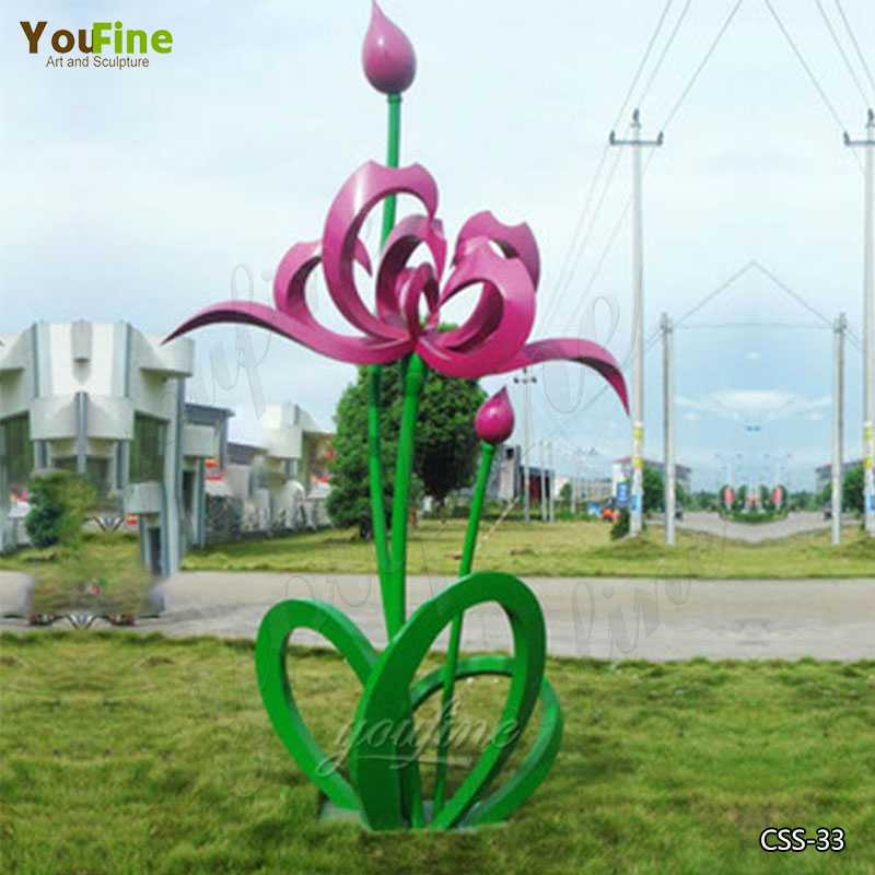 Large Outdoor Stainless Steel Floral Sculpture for Garden Suppliers CSS-33