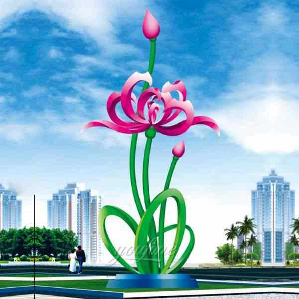 Large Outdoor Stainless Steel Floral Sculpture