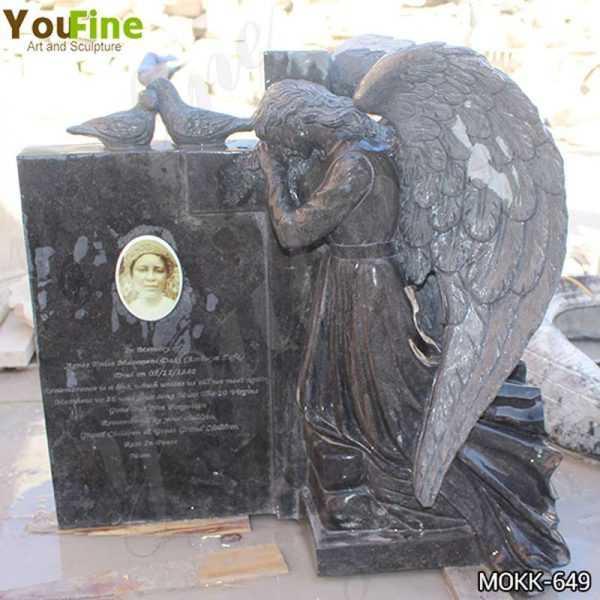 Life Size Black Granite Weeping Angel Headstone for Sale