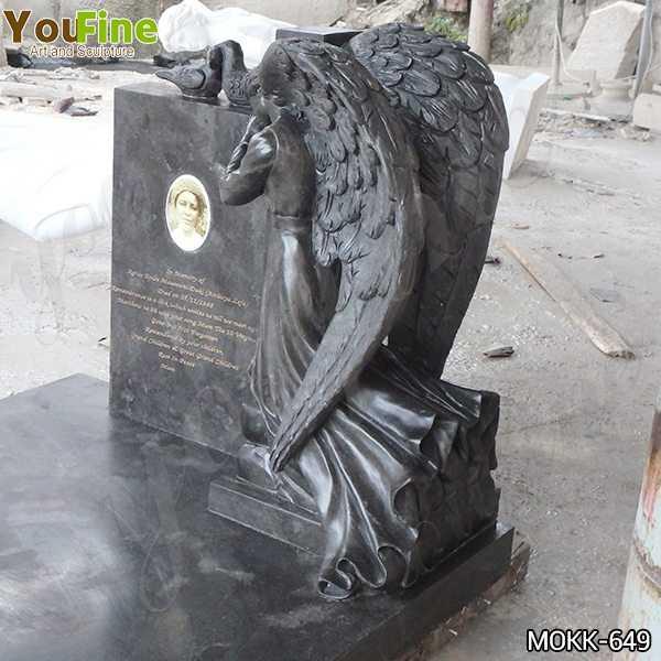 Life Size Black Granite Weeping Angel Headstone