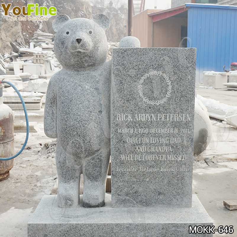Life Size Granite Upright Baby Headstone with Bear Statue for Sale MOKK-646