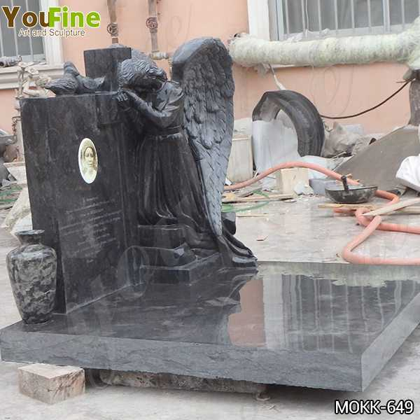 Life Size Black Granite Weeping Angel Headstone for Sale MOKK-649