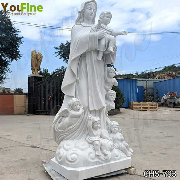 Life Size Marble Our Lady with Children Statue for Sale