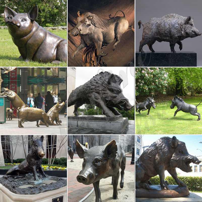 Life Size Wild Boar Bronze Animal Sculpture Suppliers