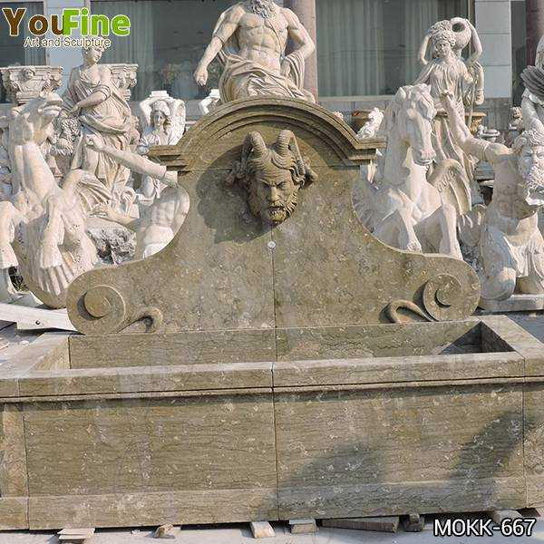 Limestone Wall Fountain with Satyr Head Statue for Sale
