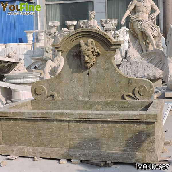 Limestone Wall Fountain with Satyr Head Statue