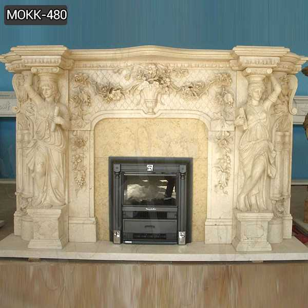 Luxurious Large Beige Marble Statuary Fireplace Mantel for Sale