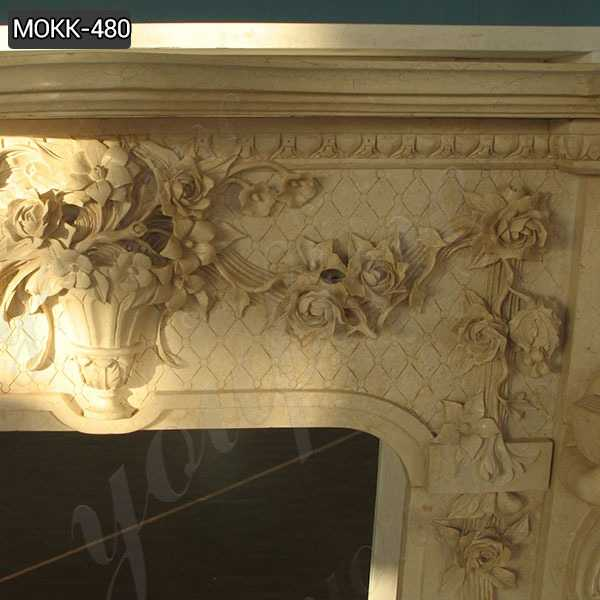 Luxurious Large Beige Marble Statuary Fireplace Mantel